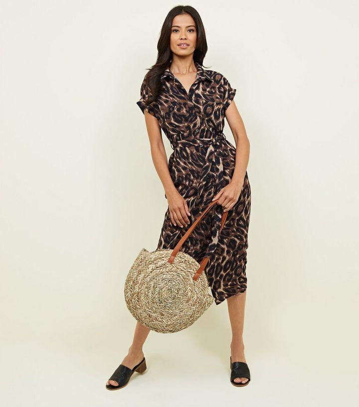 2a71ca75167 Black Animal Print Midi Shirt Dress