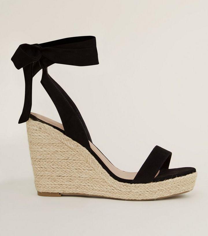 5b89462458fc Wide Fit Black Suedette Ankle Tie Espadrille Wedges New Look