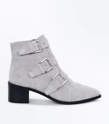 Grey Premium Suede Stud Buckle Ankle Boots