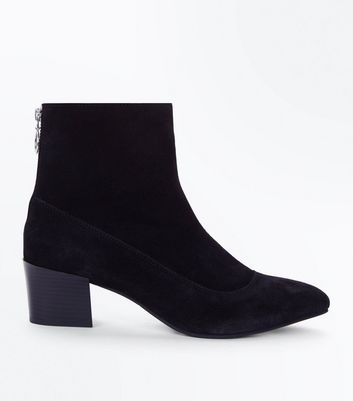 Black Premium Suede Ring Zip Back Boots
