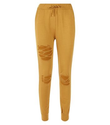 Cameo Rose Mustard Yellow Ripped Joggers New Look