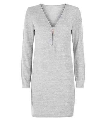 Cameo Rose Grey Marl Zip Front Tunic Dress New Look
