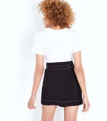 Black Contrast Stitch Belted Mini Skirt New Look