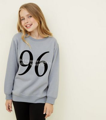 Girls Grey 96 United States Longline Sweatshirt
