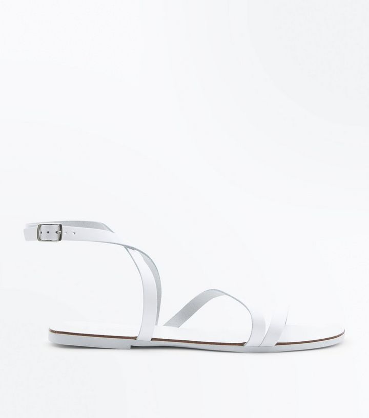 7f1a8178f786d Wide Fit White Leather Strappy Flat Sandals | New Look