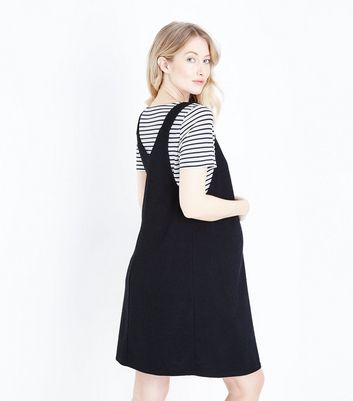 Maternity Black Cross Hatch Pinafore Dress New Look