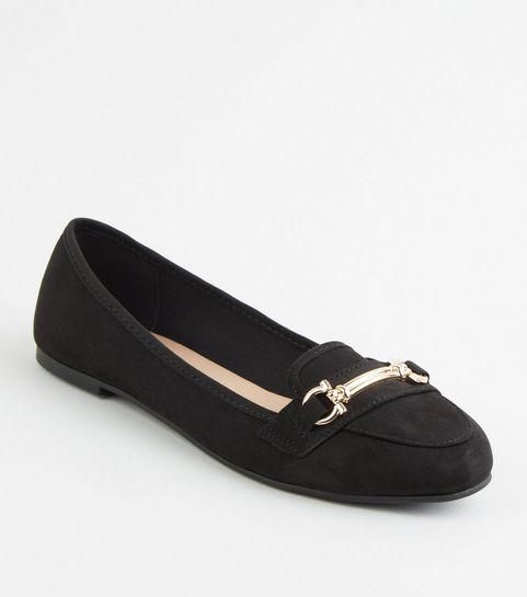 c6f4fdbe72b ... Black Suedette Bar Front Loafers ...