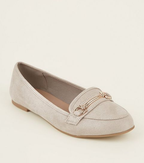 fdf672d0828 ... Grey Suedette Bar Front Loafers ...