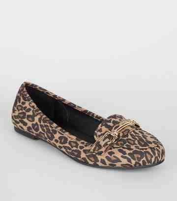 Stone Leopard Print Bar Front Loafers