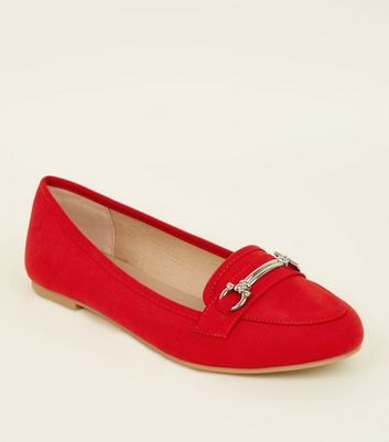 Red Suedette Bar Front Loafers