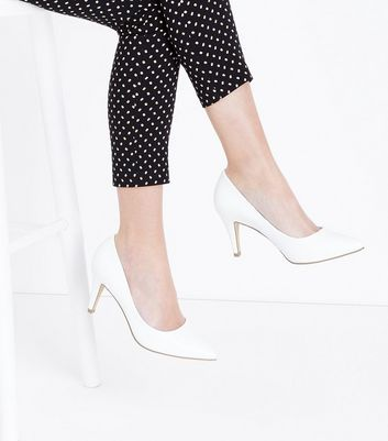 Wide Fit White Mid Heel Pointed Court