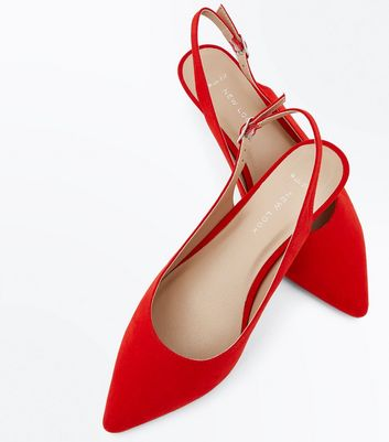 Wide Fit Red Kitten Heel Slingbacks