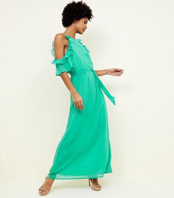 02dc888e70b6d Mela Mint Green Frill Side Maxi Dress   New Look