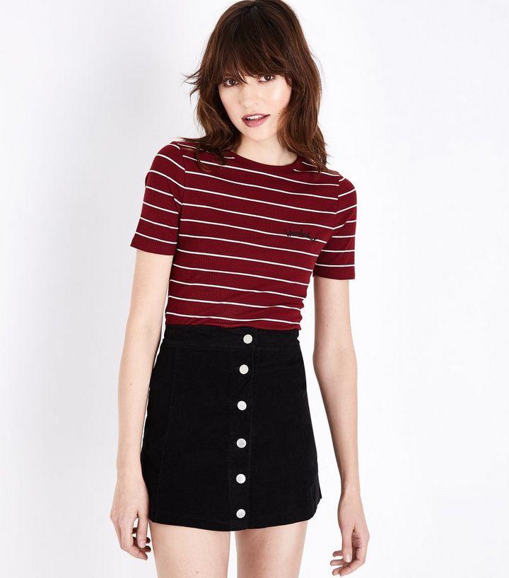 57d715364 Lulua London Black Corduroy Button Front Mini Skirt   New Look