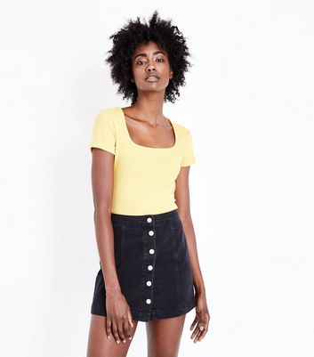 Mustard Yellow Square Neck Ribbed T-Shirt New Look