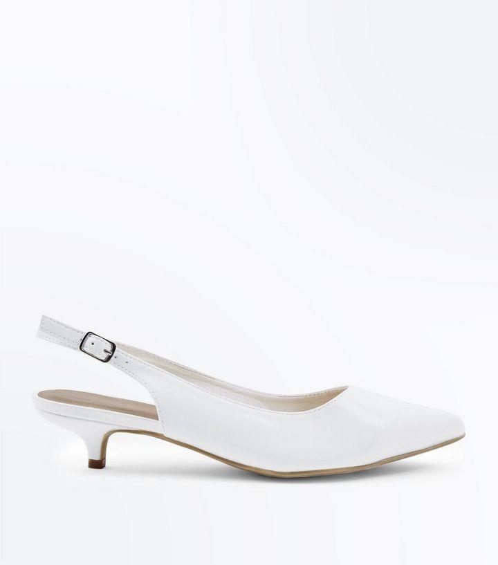 077662b3d08 Wide Fit White Patent Slingback Kitten Heels