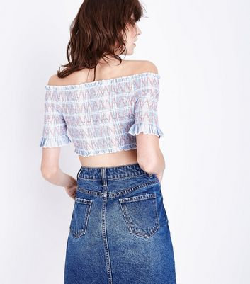 Blue Shirred Bardot Neck Crop Top New Look