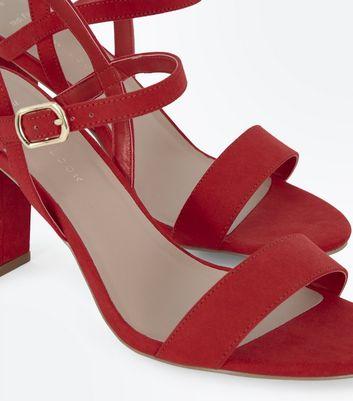 Wide Fit Red Suedette Block Heel