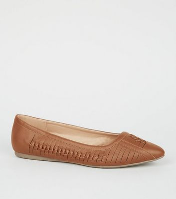 Wide Fit Tan Woven Pointed Pumps