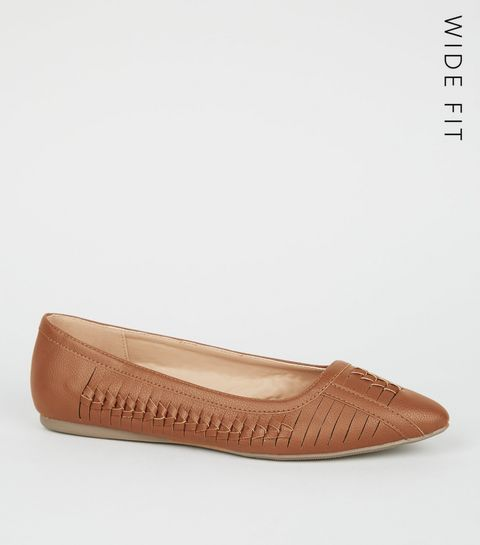 3c5489c9e23 ... Wide Fit Tan Woven Pointed Pumps ...