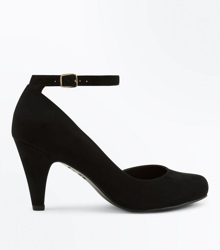 817f0921f55 Extra Wide Fit Black Suedette Mid Heel Court Shoes