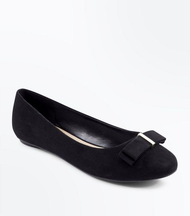 dbc9cf05abc Extra Wide Fit Black Suedette Bow Ballet Pumps