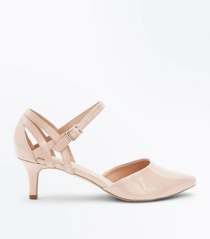 9595f76acd6 Wide Fit Nude Comfort Flex Patent Pointed Kitten Heels
