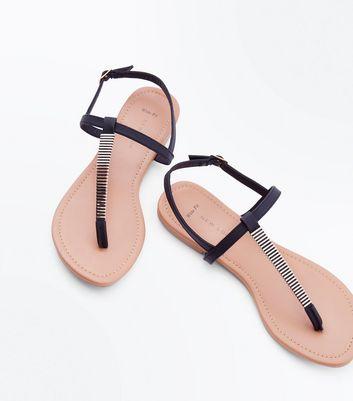 Sandales noires à brides suédines détails métallisés La