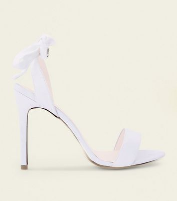 Off White Satin Crystal Bow Strap Wedding Sandals
