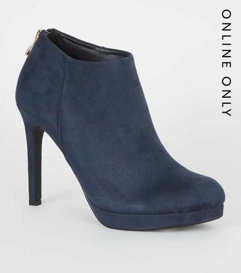 2a443e6a0f16 ... Blue Suedette Platform Shoe Boots ...