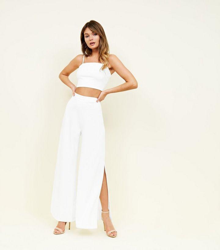 90a698ce7ac11 Pantalon large blanc en néoprène taille haute   New Look