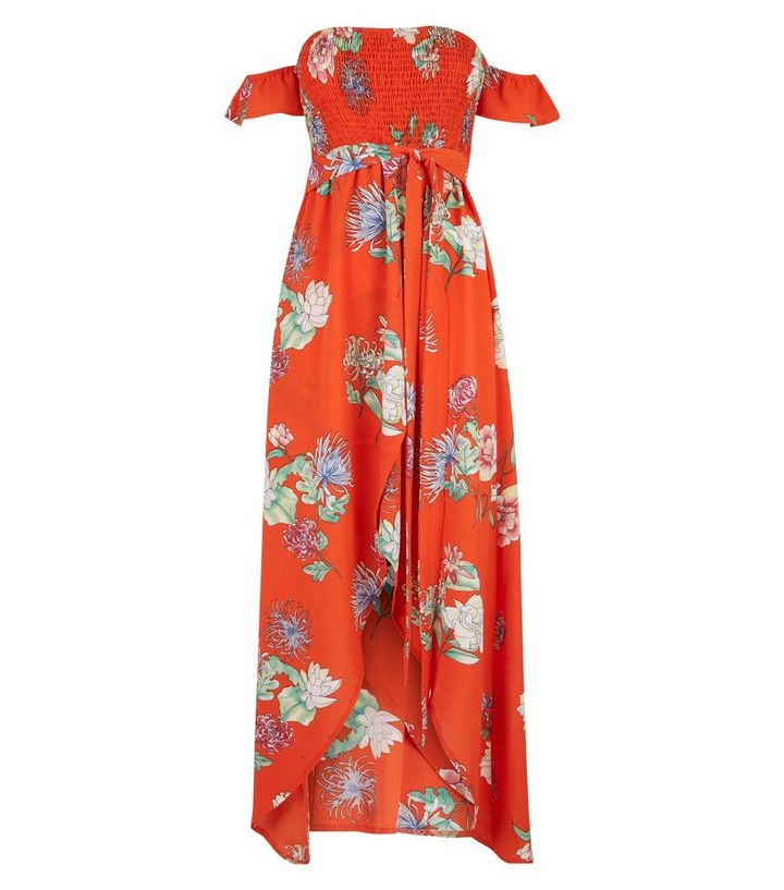 7d926542228 ... Blue Vanilla Red Floral Shirred Dip Hem Maxi Dress. ×. ×. ×. Shop the  look