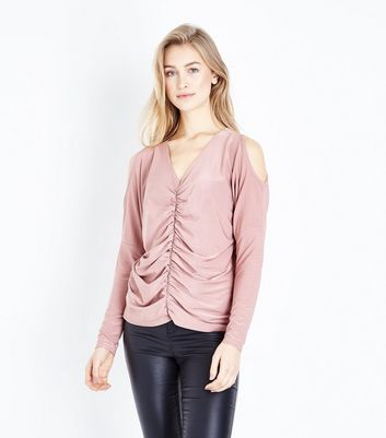 Pale Pink Ruched Front Cold Shoulder Top New Look