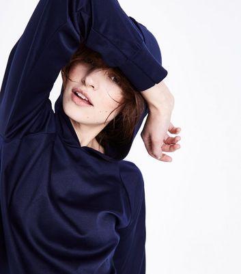 Cameo Rose Navy Stripe Sleeve Hoodie New Look