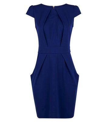 Blue Vanilla Blue Pleated Tulip Dress New Look