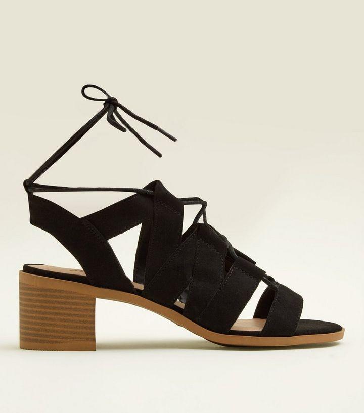 055e16f6b245 Girls Black Suedette Block Heel Gladiator Sandals