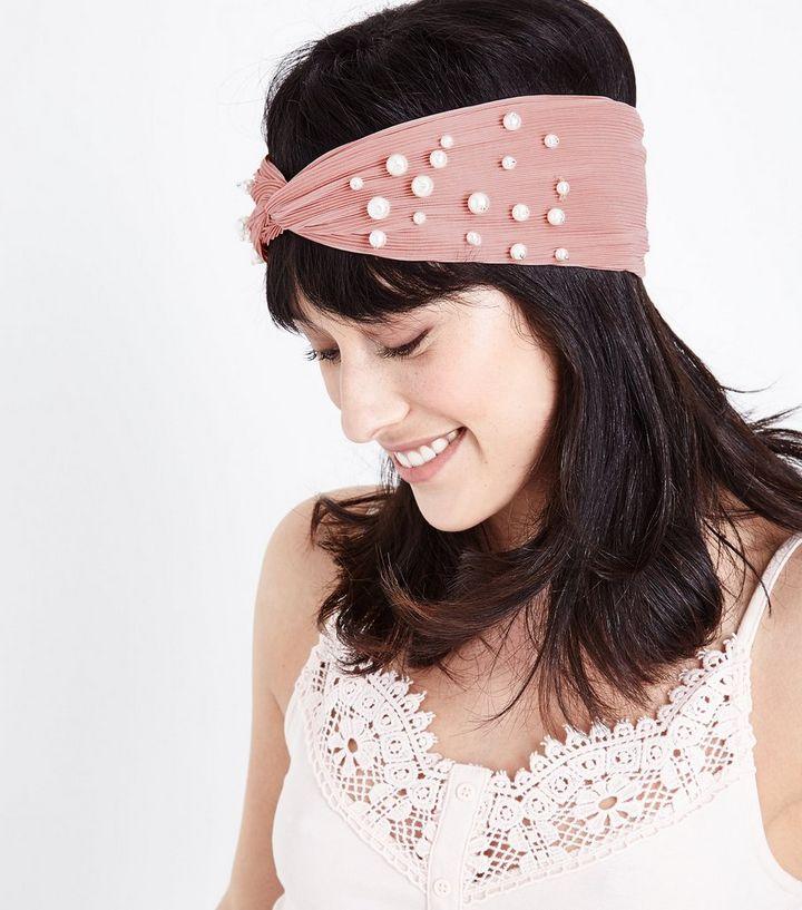 Pale Pink Pearl Twist Knot Headband  8fa899864e0
