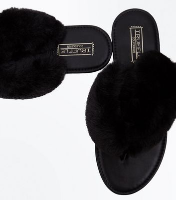 Black Faux Fur Strap Toe Post Sandals New Look