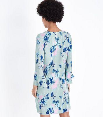 JDY Mint Green Floral Plissé Dress New Look