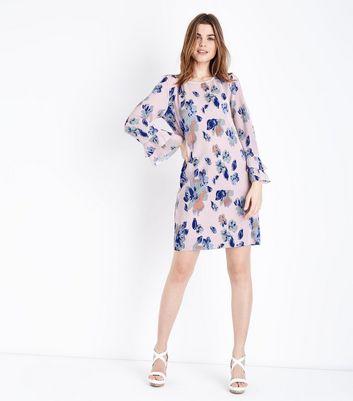 JDY Pink Floral Tiered Sleeve Plissé Dress New Look
