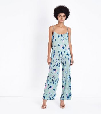 JDY Mint Green Floral Plissé Trousers