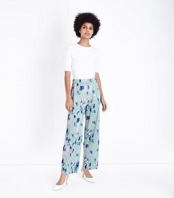 JDY Mint Green Floral Plissé Trousers New Look