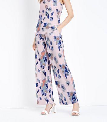 JDY Pink Floral Plissé Trousers New Look