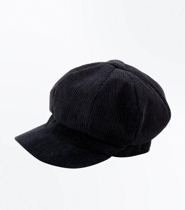 Black Corduroy Baker Boy Hat  ed1a6b89343