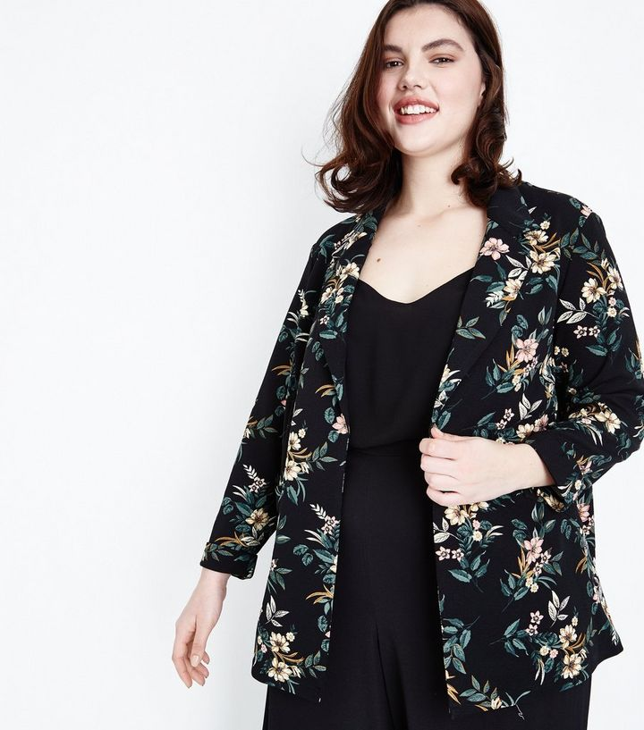 53c40c489 Curves Black Floral Crepe Longline Blazer Add to Saved Items Remove from  Saved Items