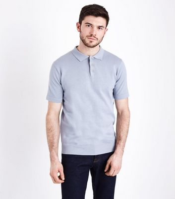 Pale Blue Knitted Polo T-Shirt New Look