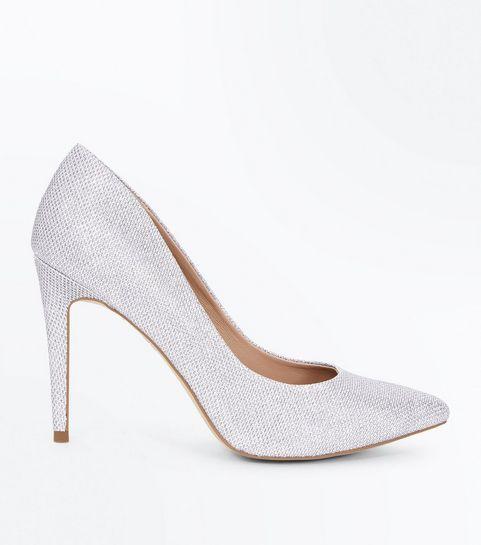 4a824774c2fc Silver Glitter Pointed Court Shoes · Silver Glitter Pointed Court Shoes ...