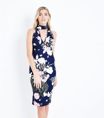 AX Paris Navy Floral Choker Neck Dress