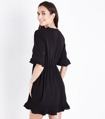 AX Paris Black Embroidered Wrap Front Dress New Look