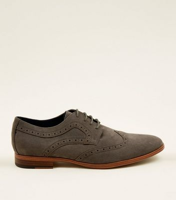 Grey Faux Suede Lace Up Brogues